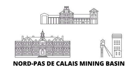 France, Nord Pas De Calais Mining Basin  line travel skyline set. France, Nord Pas De Calais Mining Basin  outline city vector panorama, illustration, travel sights, landmarks, streets.