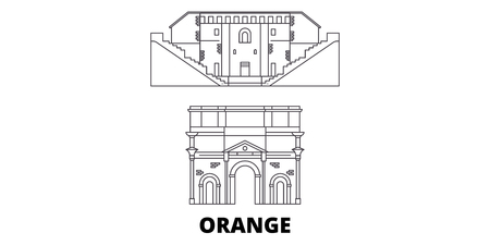 France, Orange  line travel skyline set. France, Orange  outline city vector panorama, illustration, travel sights, landmarks, streets.