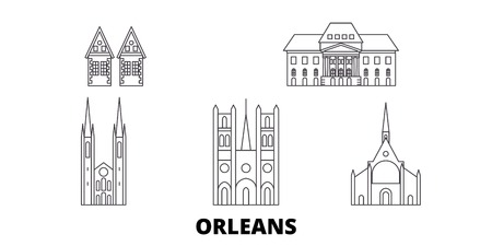 France, Orleans line travel skyline set. France, Orleans outline city vector panorama, illustration, travel sights, landmarks, streets. Banco de Imagens - 120565319