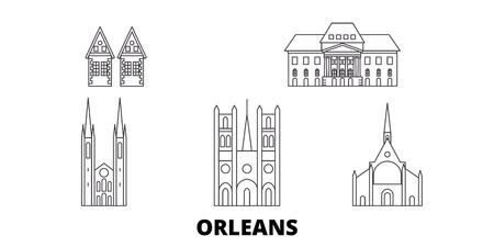 France, Orleans line travel skyline set. France, Orleans outline city vector panorama, illustration, travel sights, landmarks, streets.