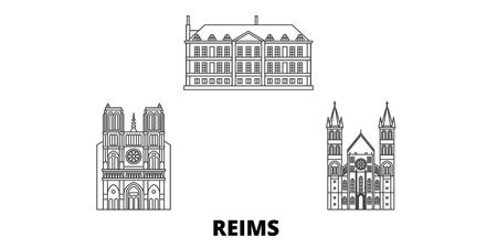 France, Reims line travel skyline set. France, Reims outline city vector panorama, illustration, travel sights, landmarks, streets.