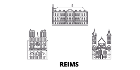 France, Reims line travel skyline set. France, Reims outline city vector panorama, illustration, travel sights, landmarks, streets.