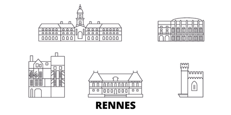 France, Rennes line travel skyline set. France, Rennes outline city vector panorama, illustration, travel sights, landmarks, streets.