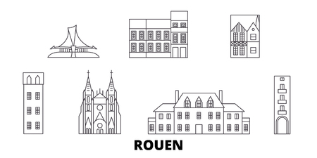 France, Rouen line travel skyline set. France, Rouen outline city vector panorama, illustration, travel sights, landmarks, streets. 向量圖像