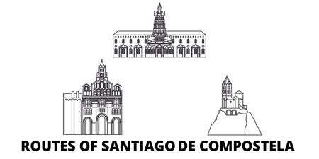 France, Routes Of Santiago De Compostela line travel skyline set. France, Routes Of Santiago De Compostela outline city vector panorama, illustration, travel sights, landmarks, streets.