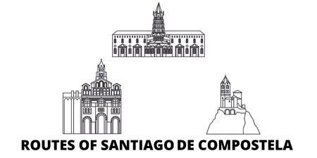 France, Routes Of Santiago De Compostela line travel skyline set. France, Routes Of Santiago De Compostela outline city vector panorama, illustration, travel sights, landmarks, streets.