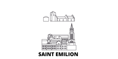 France, Saint Emilion  line travel skyline set. France, Saint Emilion  outline city vector panorama, illustration, travel sights, landmarks, streets.