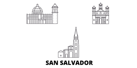 El Salvador, San Salvador line travel skyline set. El Salvador, San Salvador outline city vector panorama, illustration, travel sights, landmarks, streets.