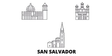El Salvador, San Salvador line travel skyline set. El Salvador, San Salvador outline city vector panorama, illustration, travel sights, landmarks, streets. Foto de archivo - 120565401