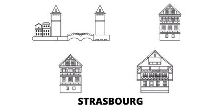 Frankreich, Straßburg City Line Reisen Skyline Set. Frankreich, Straßburg Stadtumriss Stadtvektorpanorama, Illustration, Reisesehenswürdigkeiten, Sehenswürdigkeiten, Straßen.