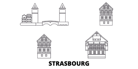 France, Strasbourg City line travel skyline set. France, Strasbourg City outline city vector panorama, illustration, travel sights, landmarks, streets.