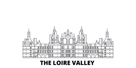 France, The Loire Valley  line travel skyline set. France, The Loire Valley  outline city vector panorama, illustration, travel sights, landmarks, streets.