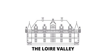 France, The Loire Valley Landmark line travel skyline set. France, The Loire Valley Landmark outline city vector panorama, illustration, travel sights, landmarks, streets.