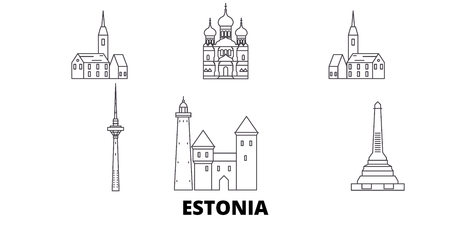 Estonia line travel skyline set. Estonia outline city vector panorama, illustration, travel sights, landmarks, streets.