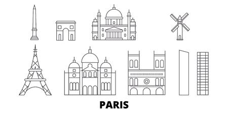 France, Paris City line travel skyline set. France, Paris City outline city vector panorama, illustration, travel sights, landmarks, streets. Illustration