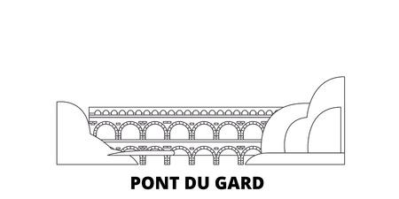 France, Pont du Gard line travel skyline set. France, Pont Du Gard aperçu ville panorama vectoriel, illustration, sites touristiques, monuments, rues. Vecteurs