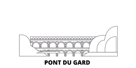 France, Pont Du Gard  line travel skyline set. France, Pont Du Gard  outline city vector panorama, illustration, travel sights, landmarks, streets. Illustration