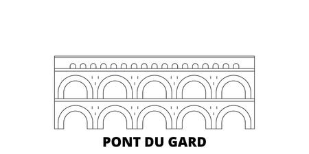 Francia, Pont Du Gard Landmark linea skyline di viaggio impostato. Francia, Pont Du Gard Landmark outline vettore città panorama, illustrazione, siti di viaggi, punti di riferimento, strade. Vettoriali