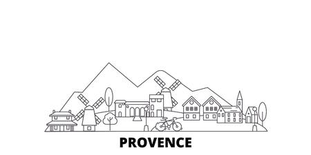 France, Provence line travel skyline set. France, Provence outline city vector panorama, illustration, travel sights, landmarks, streets. Banque d'images - 123962727
