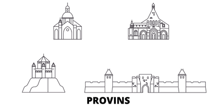 France, Provins line travel skyline set. France, Provins outline city vector panorama, illustration, travel sights, landmarks, streets. Banco de Imagens - 120563892