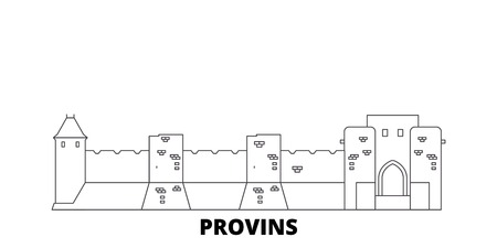 France, Provins Landmark line travel skyline set. France, Provins Landmark outline city vector panorama, illustration, travel sights, landmarks, streets. Imagens - 120563893
