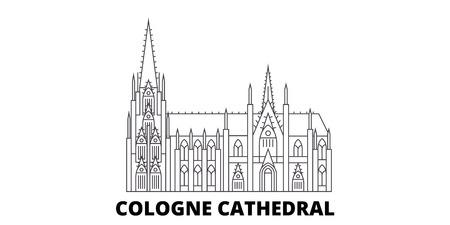Germania, Cattedrale di Colonia linea skyline di viaggio impostato. Germania, Cattedrale di Colonia outline vettore città panorama, illustrazione, siti di viaggi, punti di riferimento, strade.