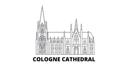 Germany, Cologne Cathedral line travel skyline set. Germany, Cologne Cathedral outline city vector panorama, illustration, travel sights, landmarks, streets.