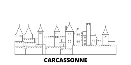 France, Carcassonne Landmark line travel skyline set. France, Carcassonne Landmark outline city vector panorama, illustration, travel sights, landmarks, streets. Illustration