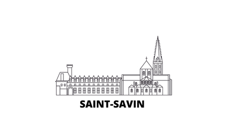 France, Saint Savin line travel skyline set. France, Saint Savin outline city vector panorama, illustration, travel sights, landmarks, streets.