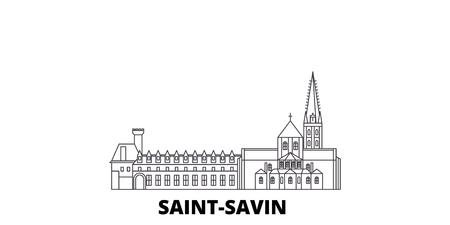 France, Saint Savin line travel skyline set. France, Saint Savin outline city vector panorama, illustration, travel sights, landmarks, streets.