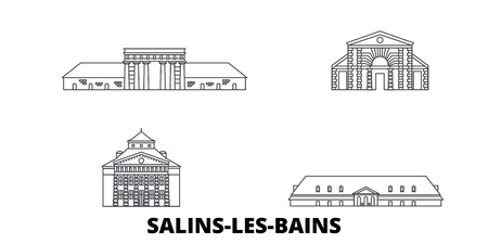 France, Salins Les Bains line travel skyline set. France, Salins Les Bains outline city vector panorama, illustration, travel sights, landmarks, streets.