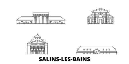 France, Salins Les Bains line travel skyline set. France, Salins Les Bains outline city vector panorama, illustration, travel sights, landmarks, streets.