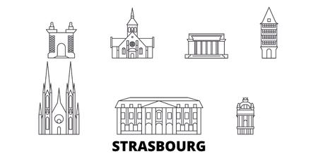 France, Strasbourg line travel skyline set. France, Strasbourg outline city vector panorama, illustration, travel sights, landmarks, streets.