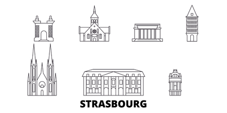 France, Strasbourg line travel skyline set. France, Strasbourg outline city vector panorama, illustration, travel sights, landmarks, streets.