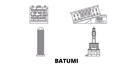 Georgia, Batumi line travel skyline set. Georgia, Batumi outline city vector panorama, illustration, travel sights, landmarks, streets. Çizim