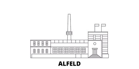 Germany, Alfeld line travel skyline set. Germany, Alfeld outline city vector panorama, illustration, travel sights, landmarks, streets.