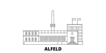 Germany, Alfeld line travel skyline set. Germany, Alfeld outline city vector panorama, illustration, travel sights, landmarks, streets.