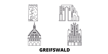 Germany, Greifswald line travel skyline set. Germany, Greifswald outline city vector panorama, illustration, travel sights, landmarks, streets. Archivio Fotografico - 120563902