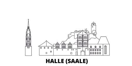 Germany, Halle (Saale) line travel skyline set. Germany, Halle (Saale) outline city vector panorama, illustration, travel sights, landmarks, streets. Illustration