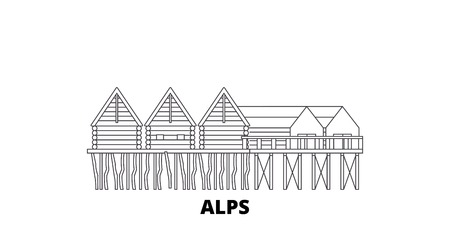 Germany, Alps, Prehistoric Pile Dwellings line travel skyline set. Germany, Alps, Prehistoric Pile Dwellings outline city vector panorama, illustration, travel sights, landmarks, streets. Archivio Fotografico - 120563903