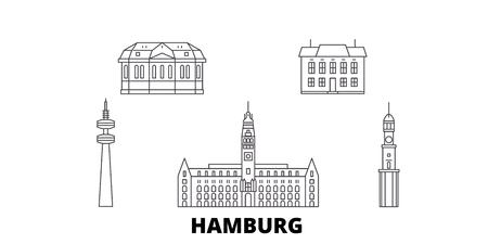 Germany, Hamburg line travel skyline set. Germany, Hamburg outline city vector panorama, illustration, travel sights, landmarks, streets. Reklamní fotografie - 123962729