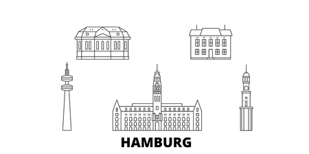Germany, Hamburg line travel skyline set. Germany, Hamburg outline city vector panorama, illustration, travel sights, landmarks, streets. Illustration