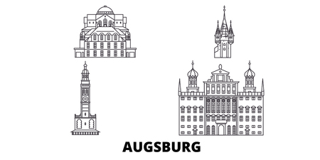Germany, Augsburg line travel skyline set. Germany, Augsburg outline city vector panorama, illustration, travel sights, landmarks, streets. Иллюстрация