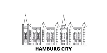 Deutschland, Hamburg City Line Reisen Skyline Set. Deutschland, Hamburg City Umriss Stadtvektorpanorama, Illustration, Reisesehenswürdigkeiten, Sehenswürdigkeiten, Straßen.