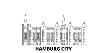 Germany, Hamburg City line travel skyline set. Germany, Hamburg City outline city vector panorama, illustration, travel sights, landmarks, streets. Çizim