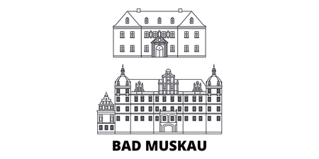 Germany, Bad Muskau line travel skyline set. Germany, Bad Muskau outline city vector panorama, illustration, travel sights, landmarks, streets.