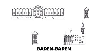 Germany, Baden Baden line travel skyline set. Germany, Baden Baden outline city vector panorama, illustration, travel sights, landmarks, streets. Reklamní fotografie - 123962732