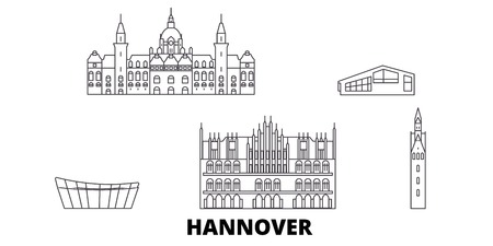 Germany, Hannover line travel skyline set. Germany, Hannover outline city vector panorama, illustration, travel sights, landmarks, streets.