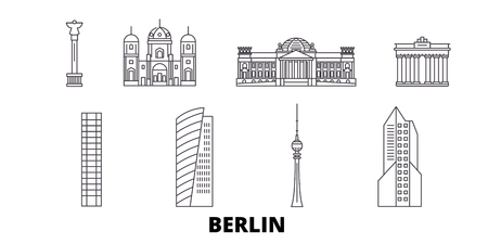 Germany, Berlin line travel skyline set. Germany, Berlin outline city vector panorama, illustration, travel sights, landmarks, streets.