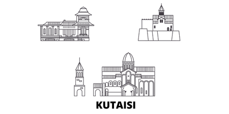 Georgia, Kutaisi line travel skyline set. Georgia, Kutaisi outline city vector panorama, illustration, travel sights, landmarks, streets. Иллюстрация